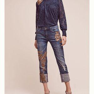 Anthro Pilcro Hyphen Appliqué Mid Rise Jeans